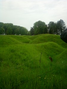 The zig-zagging path of trenches at the Newfoundland memorial
