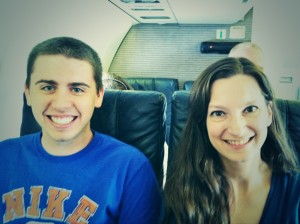 James with Dr. Langston on his first commercial flight ever!