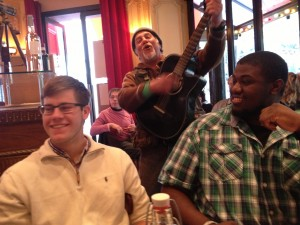 Will and Delancey are serenaded at the welcome dinner