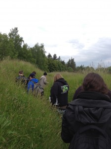 Students walk through the trenches at Beaumont-Hamel