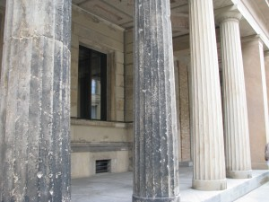 Artillery damage on the original columns outside the Pergamon Museum.
