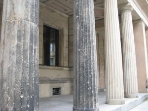 Artillery damage on the original columns outside the Pergamon Museum.