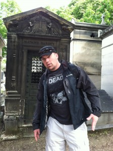 Rob carefully planned his wardrobe for Père Lachaise Cemetery