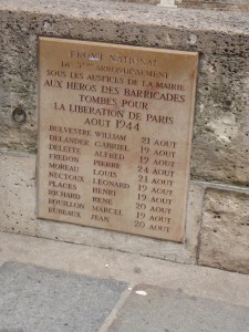 Memorial plaque on the Seine