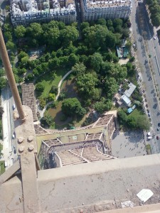 Looking straight down from the top of the Eiffel Tower.