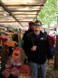Will checks out the Bastille market