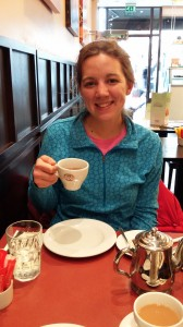 Audrey having tea2