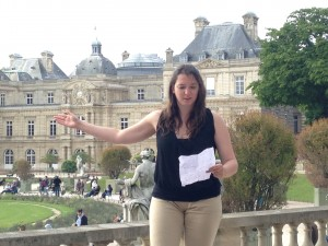 Julie gives a presentation on the Luxembourg Gardens.